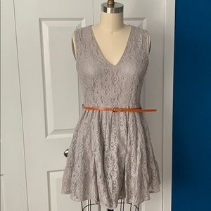 Sleeveless Fit & Flare Belted Dress